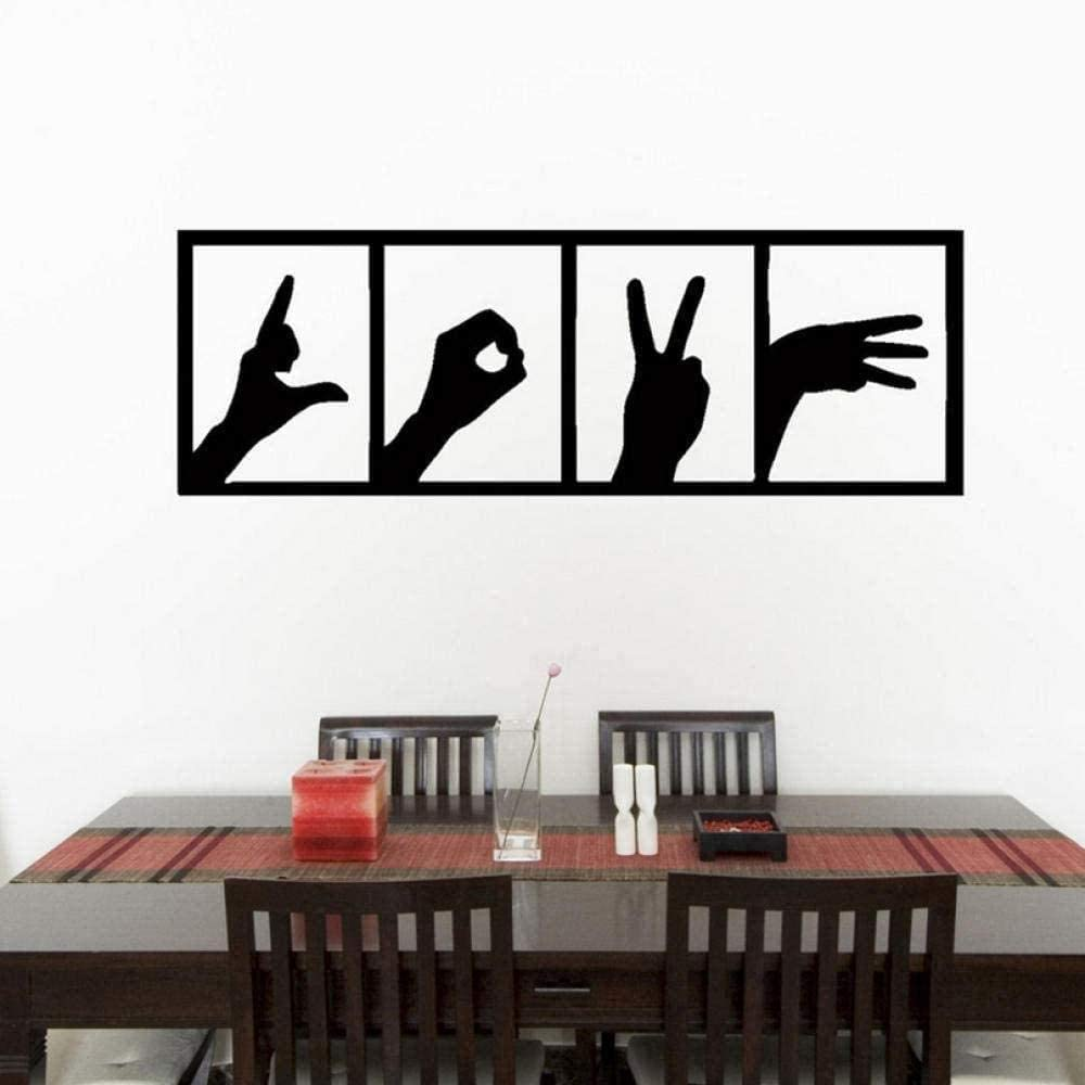 Wall Sticker Rushed Wall Sticker Love Hands Sign Bedroom Living Kitchen Room Decal Wall Art Sticker Home Decor Removable Vinyl 100X33Cm