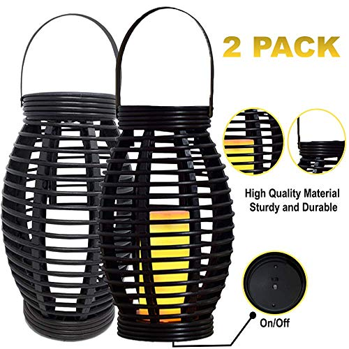 (Solar-N Solar-Lantern Hanging Powered Lights-Outdoor Decorative Light for Patio and Garden (2 Packs, Black) )