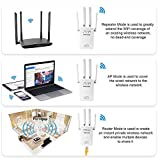 WiFi Extender Internet Booster with 4 External Antennas Wireless Network Extender 2.4GHz Speed up to 300Mbs WiFi Repeater Wide Range WiFi Booster to Smart Devices