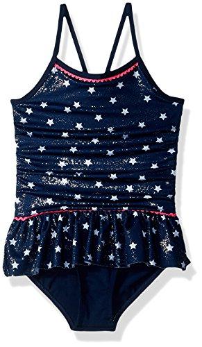 Pink Platinum Toddler Girls Star Foil 1-Piece Swimsuit, Navy, 4T