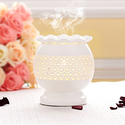 White Fragrance Lamp - Wax Melt Warmer Candle Holder Essential Oil Aroma Diffuser Ceramic HILI Incense Burner Decorative Lamp Long Wire Control Heart Design For Fragrance Aromatherapy Home Office Bedroom Gift White