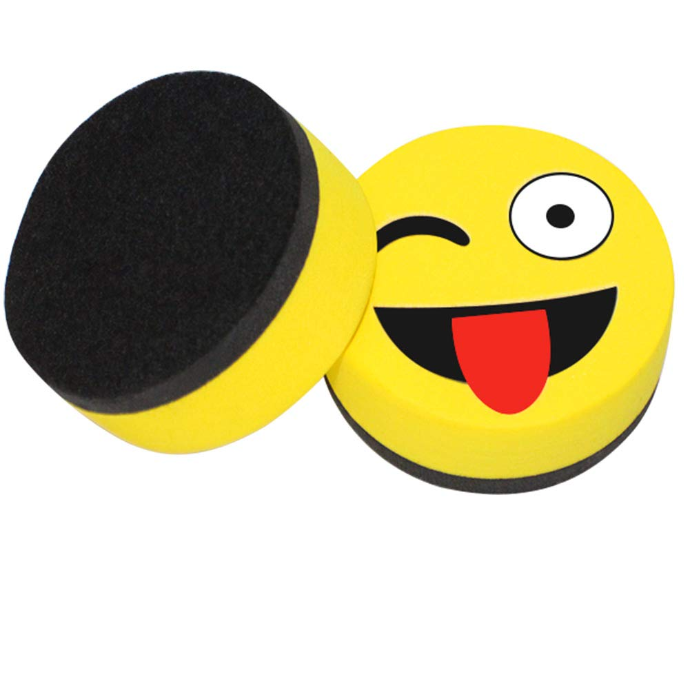 Eraser Whiteboard Magnetic Smiley Face Circular 2'' Eraser - Teaching Supplies Prime Dry Erase Accessories Felt Dry Eraser (Yellow) by RSVLEISI (Image #3)