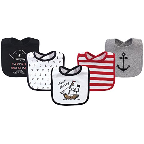 Hudson Baby Baby Cotton Drooler Bib, 5 Pack, Pirate Ship, One Size