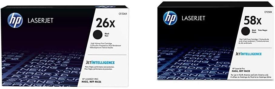 HP 26X | CF226X | Toner Cartridge | Black | High Yield & 58X | CF258X | Toner Cartridge | Black | High Yield