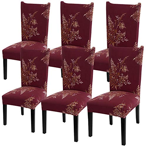 YISUN Modern Stretch Dining Chair Covers Removable Washable Spandex Slipcovers for High Chairs 4/6 PCs Chair Protective Covers (Red/Leaf Pattern, 6 PCS)
