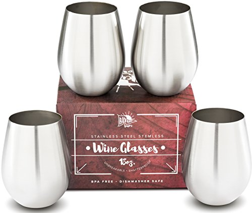 Premium Solid Stainless Steel Wine Glasses, Stemless Wine Glass Set of 4, for Men and Women, Large 18 Ounce by Backyard Bum. Unbreakable and Tip Resistant for Perfect Entertaining Indoor and Outdoor