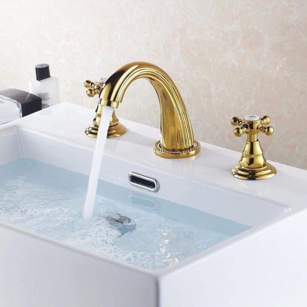Bronzo Antico Kai/&Guo Rubinetteria per lavabo Rubinetteria per lavabo da Bagno Moderna in Ottone Dorato lucidato Miscelatore da lavabo a 3 Fori per lavabo da Bagno