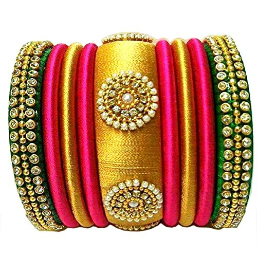 GOELX Festive Offer: Rani Pink Green and Gold Silk Thread Handcrafted Bangle Bracelet for Women - 2.2