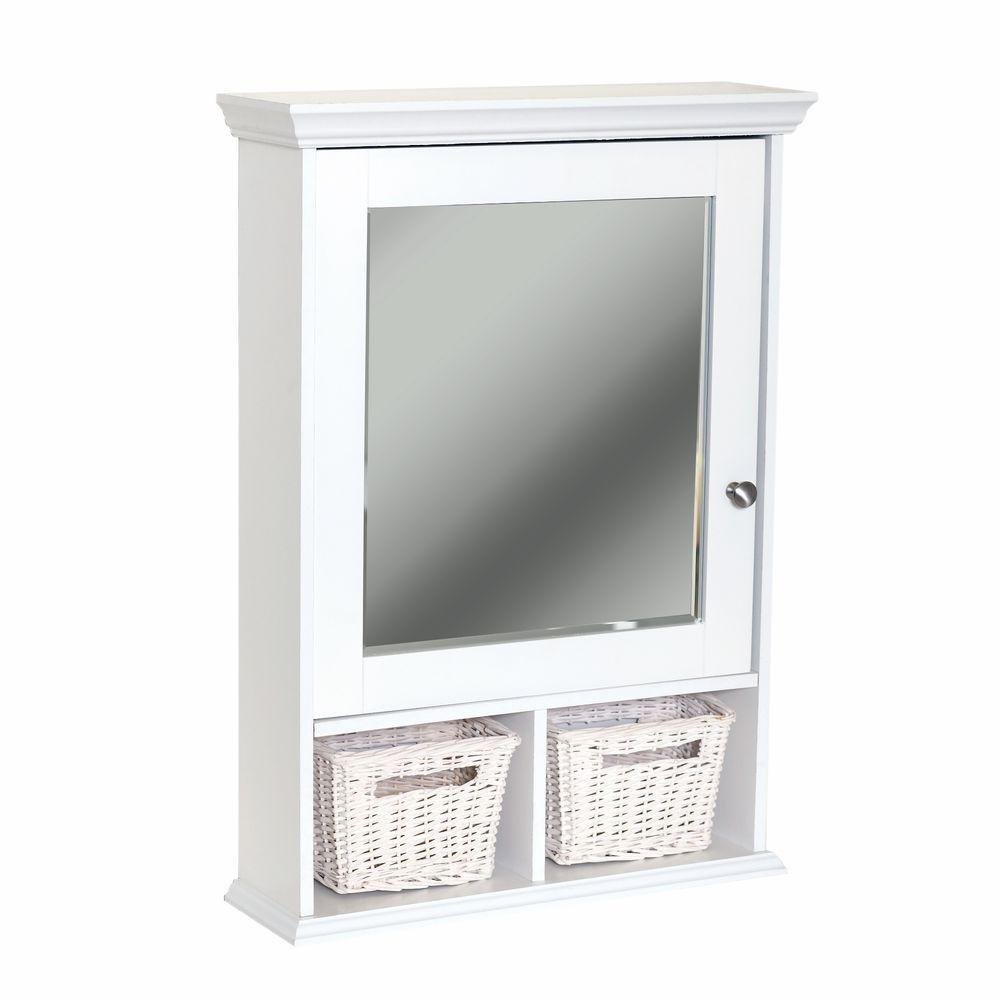 Glacier Bay 21 in. x 29 in. Wood Surface Mount Medicine Cabinet with Baskets in White with Beveled Mirror