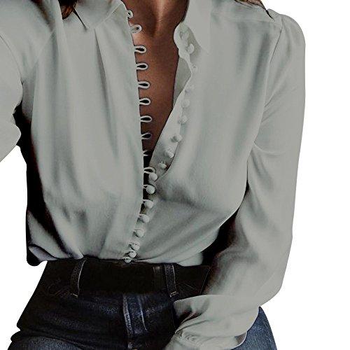 Chic Chemise Classique Femme Tee Sixcup Col T Boutonne en Chemisier Manches Gris V Top Casual Blouse Fluide Shirt Longues z5f8qgwS