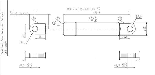asta 10 mm 084964 Molla a gas Lift-o-Mat aperto 585 mm 900 N STABILUS attacchi ad occhiello corsa 250 mm