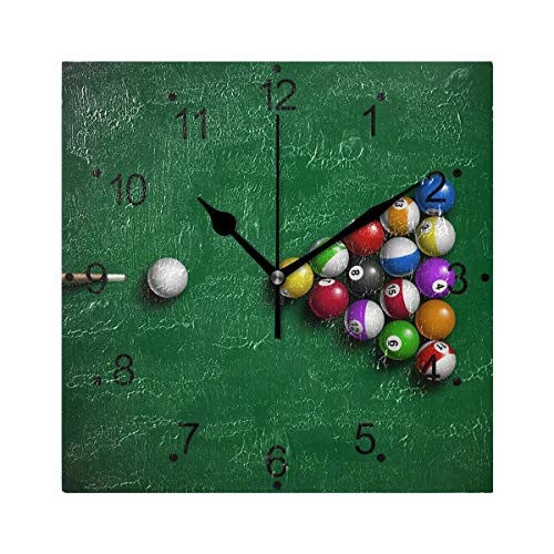 LORVIES Billiard Balls Wall Clock Silent Non Ticking Acrylic 8 Inch Square Decorative Clock for Home/Office / Kitchen/Bedroom / Living Room ()