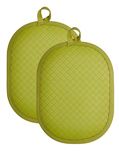 """Rachael Ray Cotton Pot Holder/Hot Pad & Trivet with Silicone Grip, Heat Resistant up to 500 Degrees, Material, 12x7.5"""", Green 2pk by Rachael Ray"""