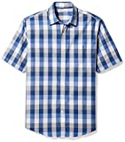 Amazon Essentials Men's Regular-Fit Short-Sleeve Check Shirt, Blue/Grey, XX-Large