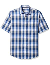 Amazon Essentials Men's Regular-Fit Short-Sleeve Check Shirt