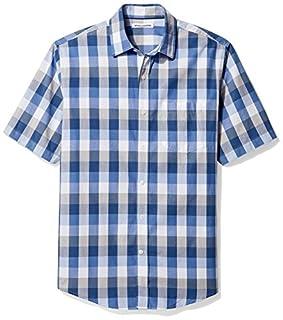 Amazon Essentials Men's Regular-Fit Short-Sleeve Casual Poplin Shirt, Blue/Grey, Medium (B06XWMVNQT) | Amazon Products