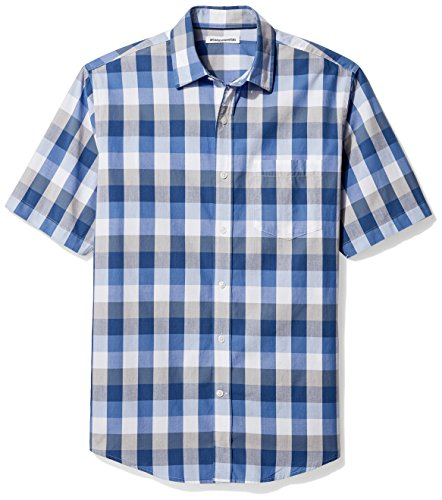 Amazon Essentials Men's Regular-Fit Short-Sleeve Casual Poplin Shirt, Blue/Grey, Medium - Mens Poplin Pull