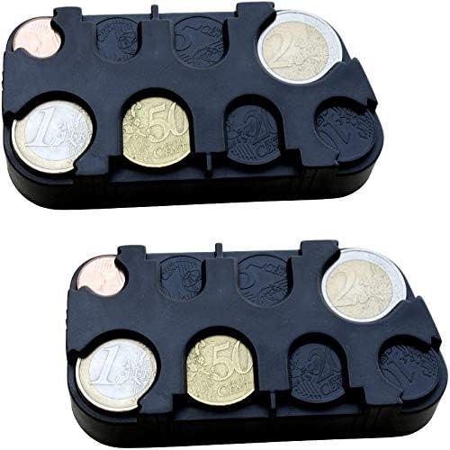 schwarz marion10020 Euro-M/ünzsammler M/ünzenhalter Geld-Sortierer M/ünzbox M/ünzen-Sammler Kleingeldspender mit Schnell-Fixierung