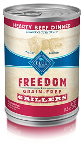 BLUE Freedom Grillers Adult Grain Free Hearty Beef Wet Dog Food 12.5oz (Pack of 12)