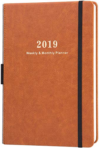 2019 Planner - Weekly & Monthly Planner with Calendar Stickers, A5 Premium Thicker Paper with Pen Holder, Inner Pocket and 88 Notes Pages, Christmas Gift]()