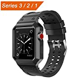 CTYBB Apple Watch Band 42mm with Case, Breathable iWatch Bands with Shock-proof Protective Case for Apple Watch Nike+, Series 3, Series 2, Series 1, Sport, Edition - Black