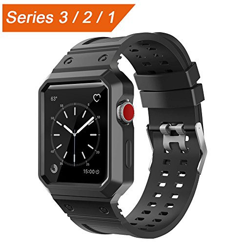 Price comparison product image CTYBB Apple Watch Band 42mm with Case, Breathable iWatch Bands with Shock-proof Protective Case for Apple Watch Nike+, Series 3, Series 2, Series 1, Sport, Edition - Black