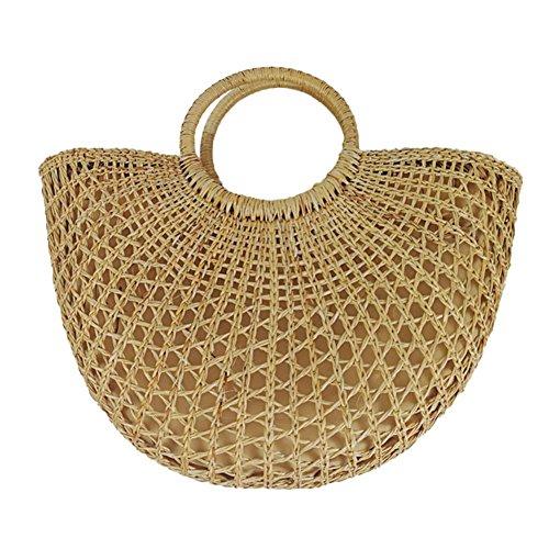 verano semicircular paquete bolsa de de de la las de paja playa de de con paja para mano bolso de waroomss mano nbsp;nbsp;Bolsa mujeres saco tejida de n1zqOZqH