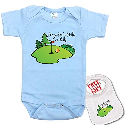 Grandpa's Little Caddy (golf) Cute custom Baby bodysuit onesie & matching bib