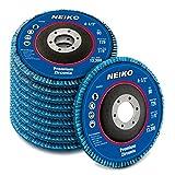 Neiko 11143A 4.5 x 7/8-Inch Premium Zirconia Alumina Jumbo Flap Disc, 60 Grit | Bevel Type #29 Conical Design | 10-Pack