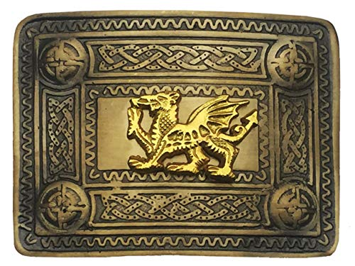 (AAR B N Kilt Belt Buckle Design Mirror Golden Welsh Dragon Brass Antique Finish)