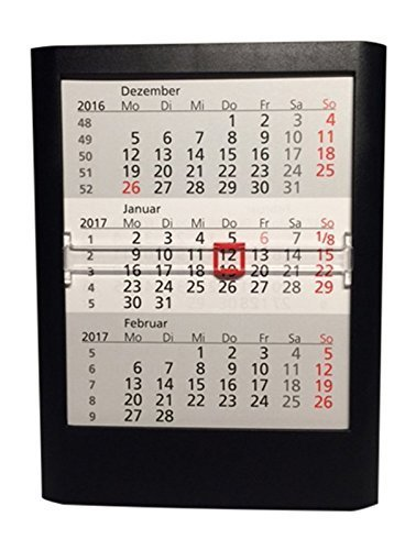 Walz 3-Monats-Tischkalender, für 2 Jahre, 12.5x16x1.4cm, schwarz, 5033