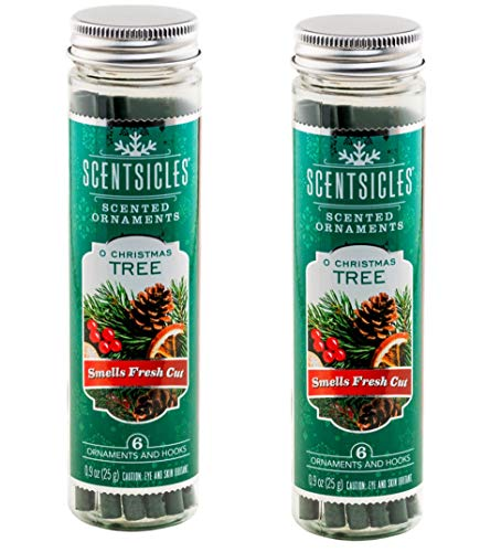 Scentsicles O Christmas Tree Scented Ornaments with Hooks - 2 Bottles (12 Sticks Total) (Tree Christmas Scents)