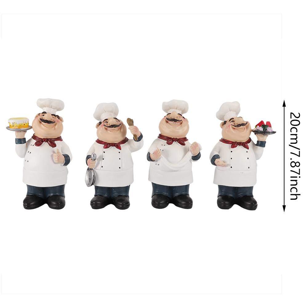 Wifehelper 4 Pezzi di Resina Chef Figure Ornamento Statua Modello Artigianato Arredamento Bar caffetteria Decorazione della Stanza Ornamento Regali