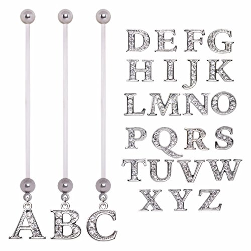 Bioflex Pregnancy Navel Ring With Gemmed Alphabet Dangle