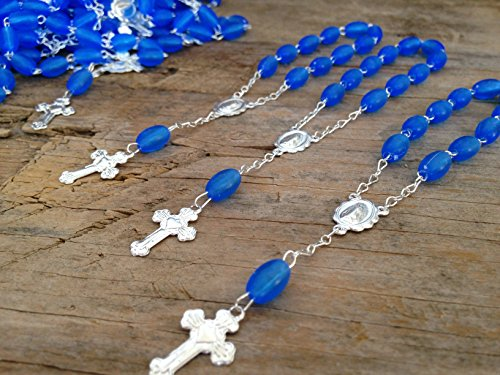 25 Pc Baptism Favors Mini Rosaries Frosted Royal Blue with Silver Plated Accents/communion Favors Recuerditos De Bautismo/ Christening Favors/ Decenarios/ Decades/ Finger Rosaries