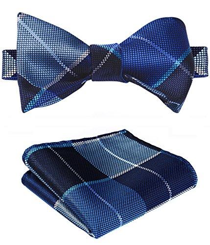 SetSense Men's Plaid Jacquard Woven Self Bow Tie Set One Size Navy Blue
