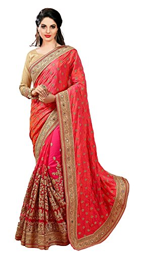 Nivah Fashion Women's Dhupion Silk & Net Half N Half Diamond Material With Embroidery & Coding Work Sari Pink (K579A)