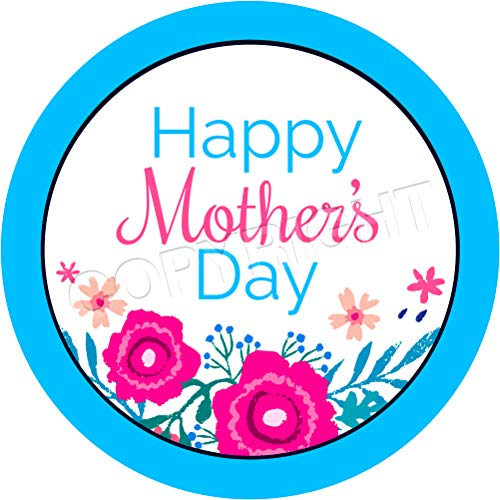 Happy Mother's Day Coloured Flowers Sticker Labels (6 Stickers, 3.7'' Inch Each) Seals Ideal for Party Bags, Sweet Cones, Favours, Jars, Presentations Gift Boxes, Bottles, Crafts ()