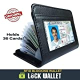 Fashion Lock Wallet Slim Secure RFID Blocking Wallet- Black Synthetic Leather Fraud Protector Card Case - Credit Card Holder