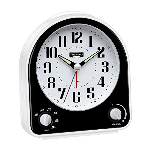 Clock Brighton - Peakeep Non-Ticking Silent Alarm Clock, Optional 7 Wake-up Sounds with Volume Control, Nightlight and Snooze, AA Battery Operated and Included (Black)