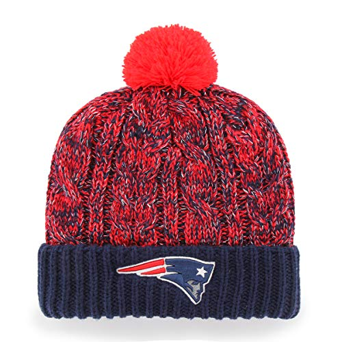 NFL Women's New England Patriots OTS Brilyn Cuff Knit Cap with Pom, One Size, Team Color