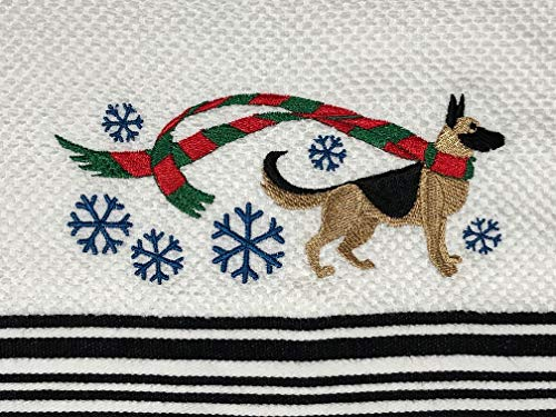 German Shepherd Winter Scarf Kitchen Tea Towel