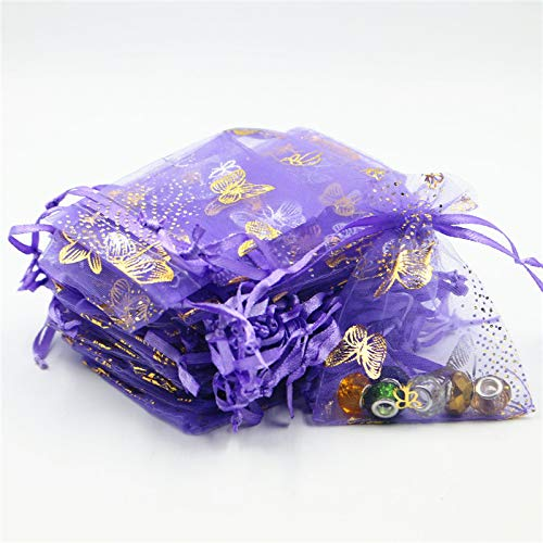 XLPD 50Pcs Bronzing Butterfly Organza Bags 7X9/9X12/11X15cm Drawable Jewelry Packing Packages Christmas Wedding Candy Gift Bags 8Z Purple -