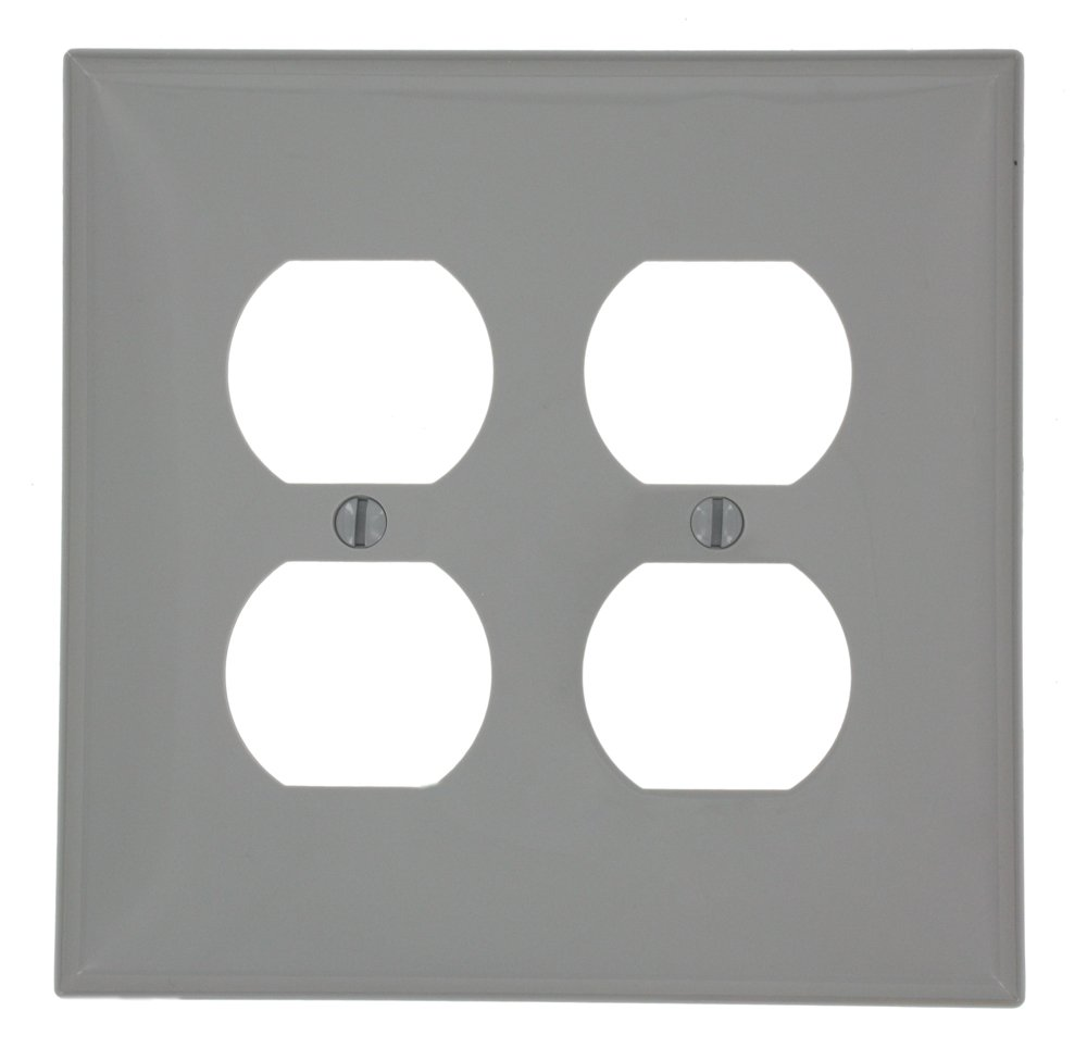 Leviton PJ82-GY 2-Gang Duplex Receptacle Wallplate, Midway Size, Gray