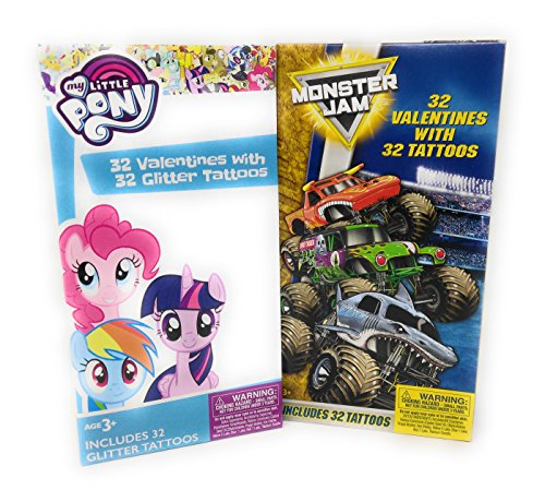 Happy Valentine's Day 32 Cards 32 Tattoos My Little Pony & Monster Jam