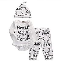 Baby Boy Girl Suit para Baby Shower Deer Print Mameluco de manga larga + Pantalones largos + Sombrero (0-3 meses, Blanco)