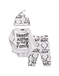 Newborn Infant Baby Boy Clothing Set, Casual Deer Bodysuit+Pants+Hat 3Pcs Outfits