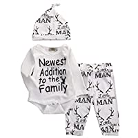 Baby Boy Girl Suit For Baby Shower Deer Print Long Sleeve Romper+Long Pants+H...