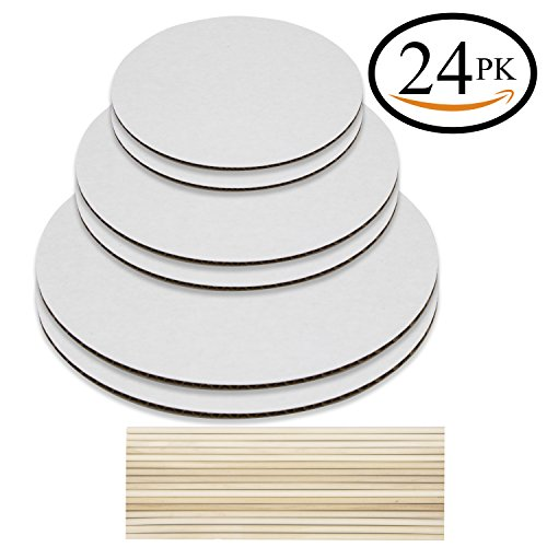 - Cake Boards and Wooden Dowels, Set of 6 Cardboards Cake Circle Bases, 6,8, and 10 inch, 2 of each Size, With 16 Dowels - Supplies for Two 3 Tier Cakes