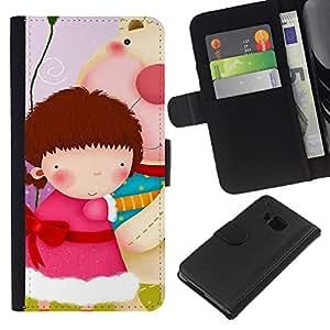 BearCase / Cuero de la tarjeta la carpeta del tirón Smartphone Slots Protección Holder /// HTC One M7 /// Lindo Girls Gang